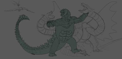 Godzilla Vs Ghidorah wip