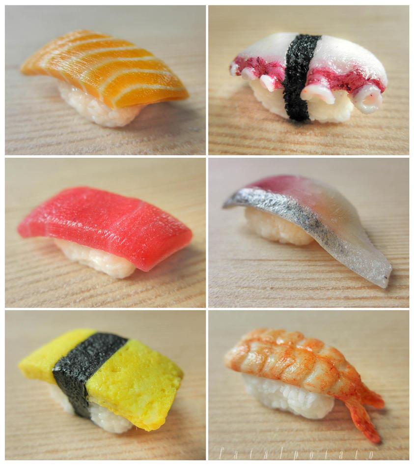 miniature sushi - assorted nigiri details by FatalPotato