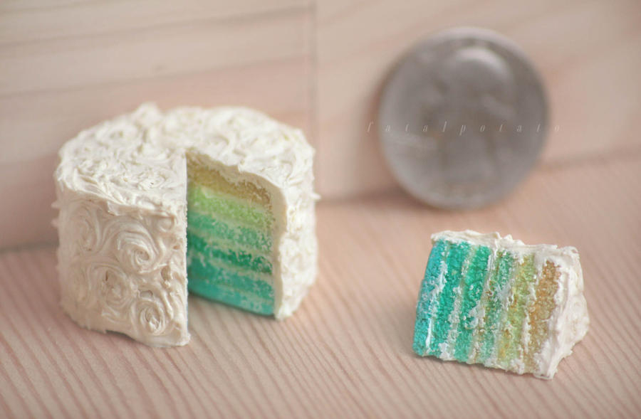 fake cake of aqua and buttercream by FatalPotato