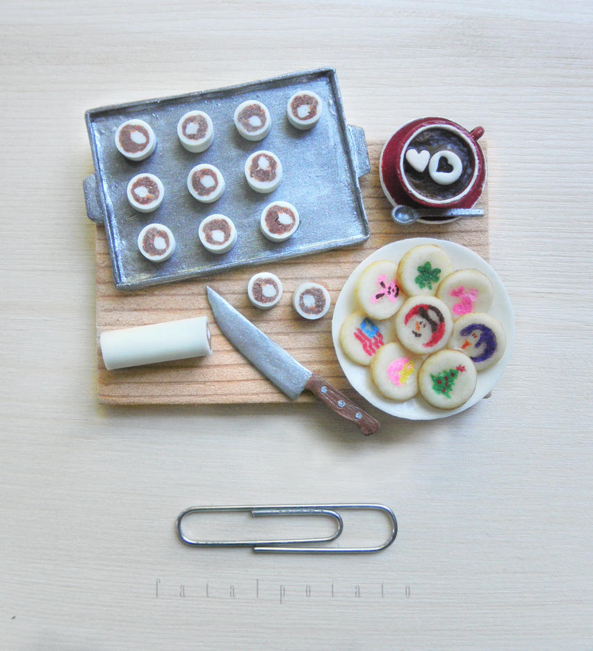 miniature holiday cookie preparation board by FatalPotato