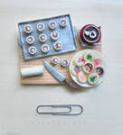 miniature holiday cookie preparation board