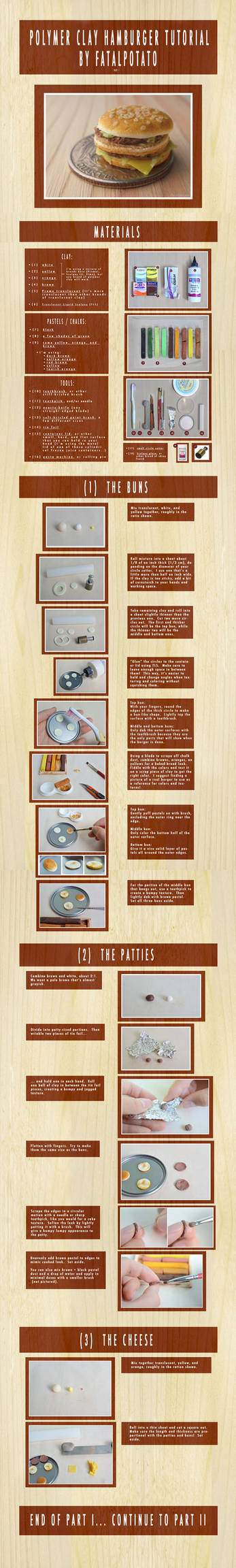 polymer clay hamburger tutorial- PART I by FatalPotato