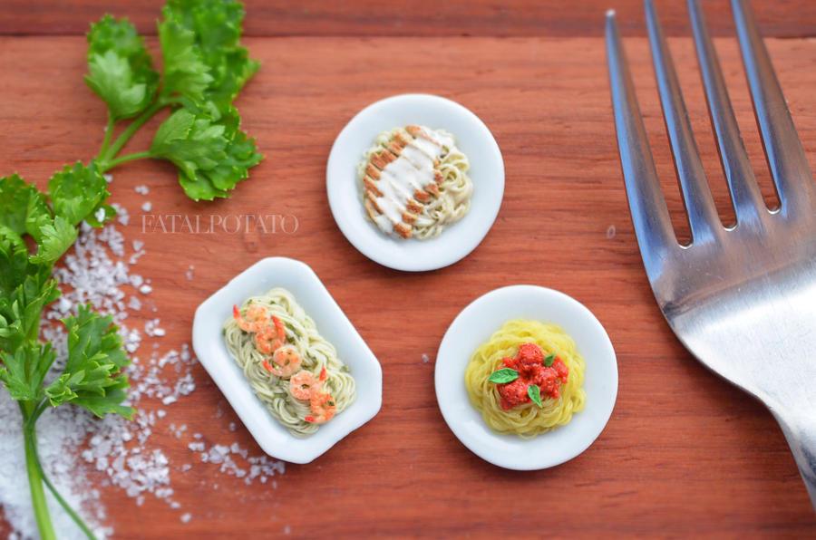 miniature spaghetti and friends II by FatalPotato