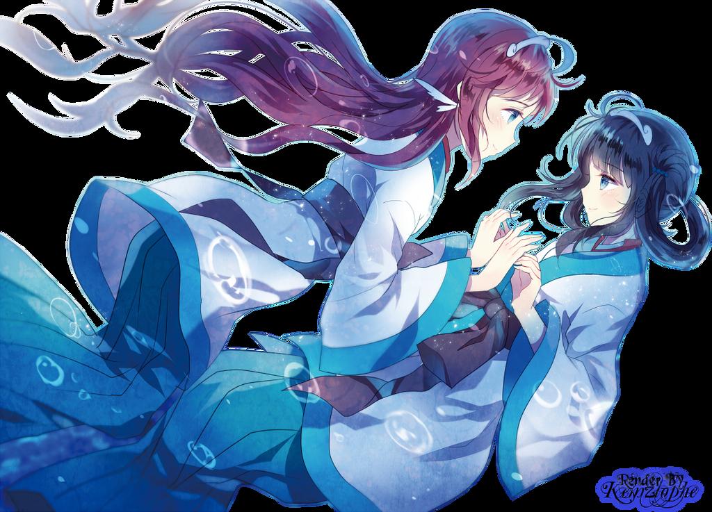 Nagi no Asukara - Manaka and Miuna Render by kemzlophe