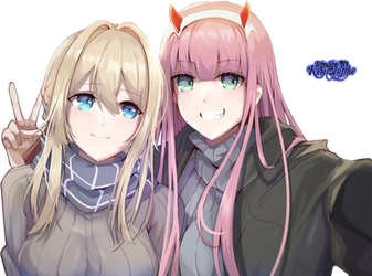 Crossover - Violet and Zero Two Render by kemzlophe