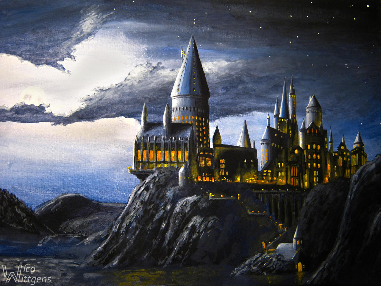 Hogwarts At Night By NicoW92 On DeviantArt