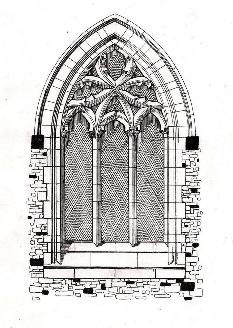 архитектурный рисунок окна
