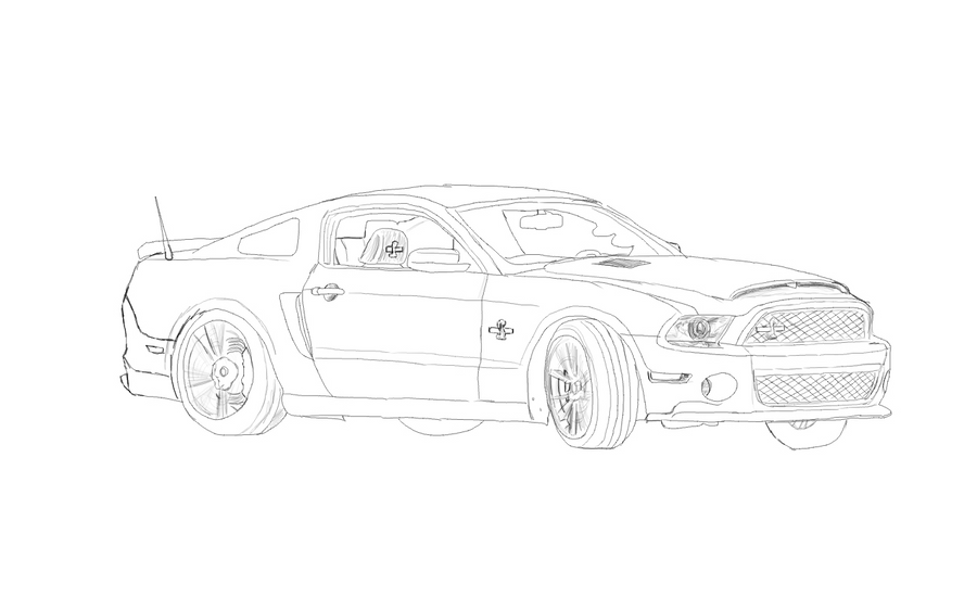 Drifting 2013 Ford Mustang Shelby Gt500 Sketch By