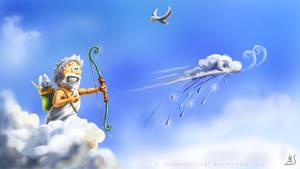 Happy Zeus and his rainbow by Rahmschnitzel