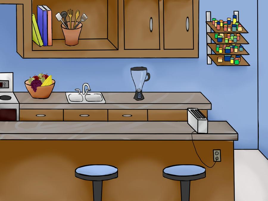kitchen cartoon background