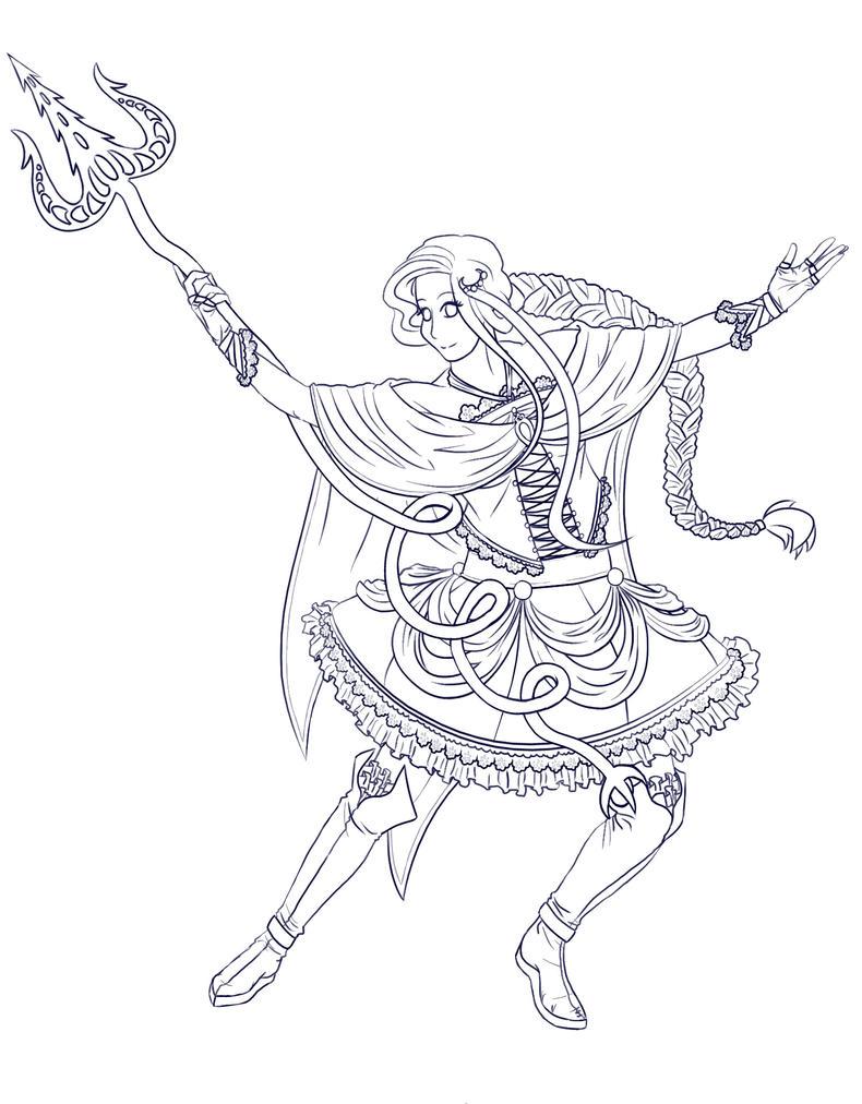 Madoka Magica Costume concept Line art by TehIzzy