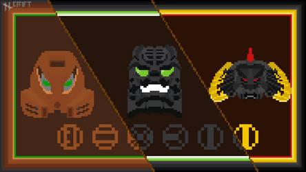 Hewkii mask evolution in pixel art!