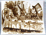 Alice Tea Party pyro on paper