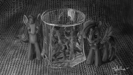 Doctor Whooves, Amy, and a glass full of dinosaurs