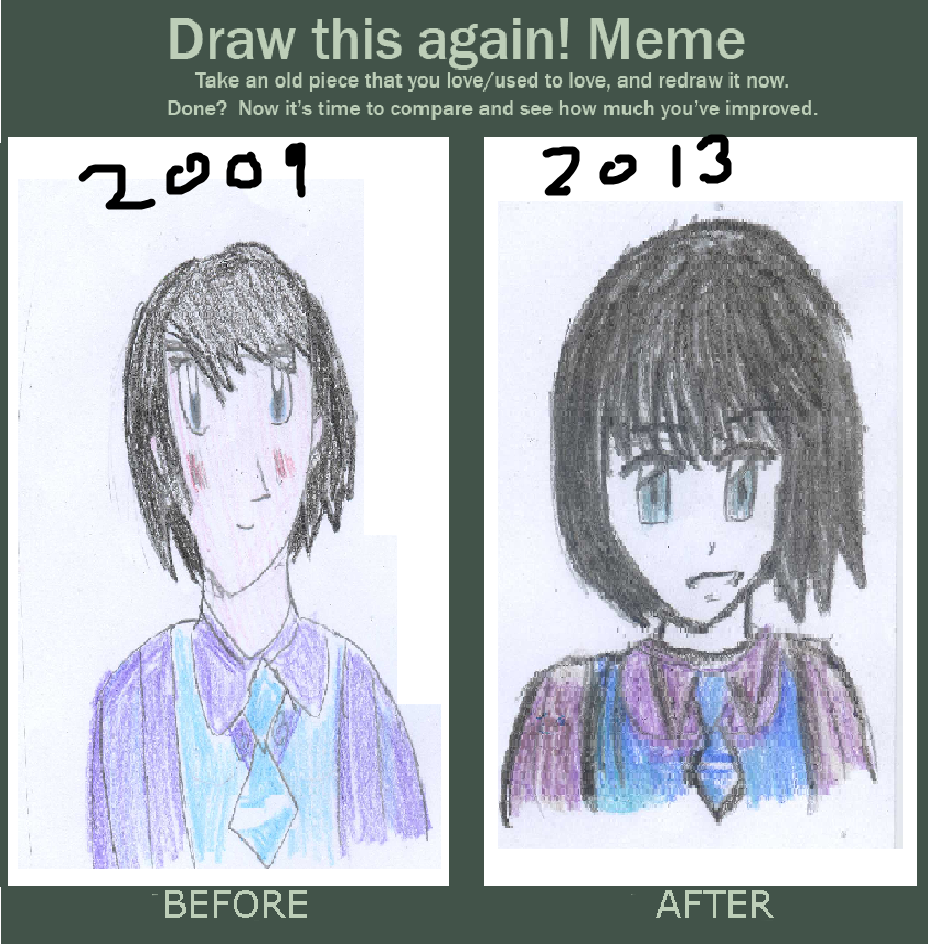 Draw This Again Meme Anime School Girl By Fran On DeviantArt - Hairstyle drawing meme