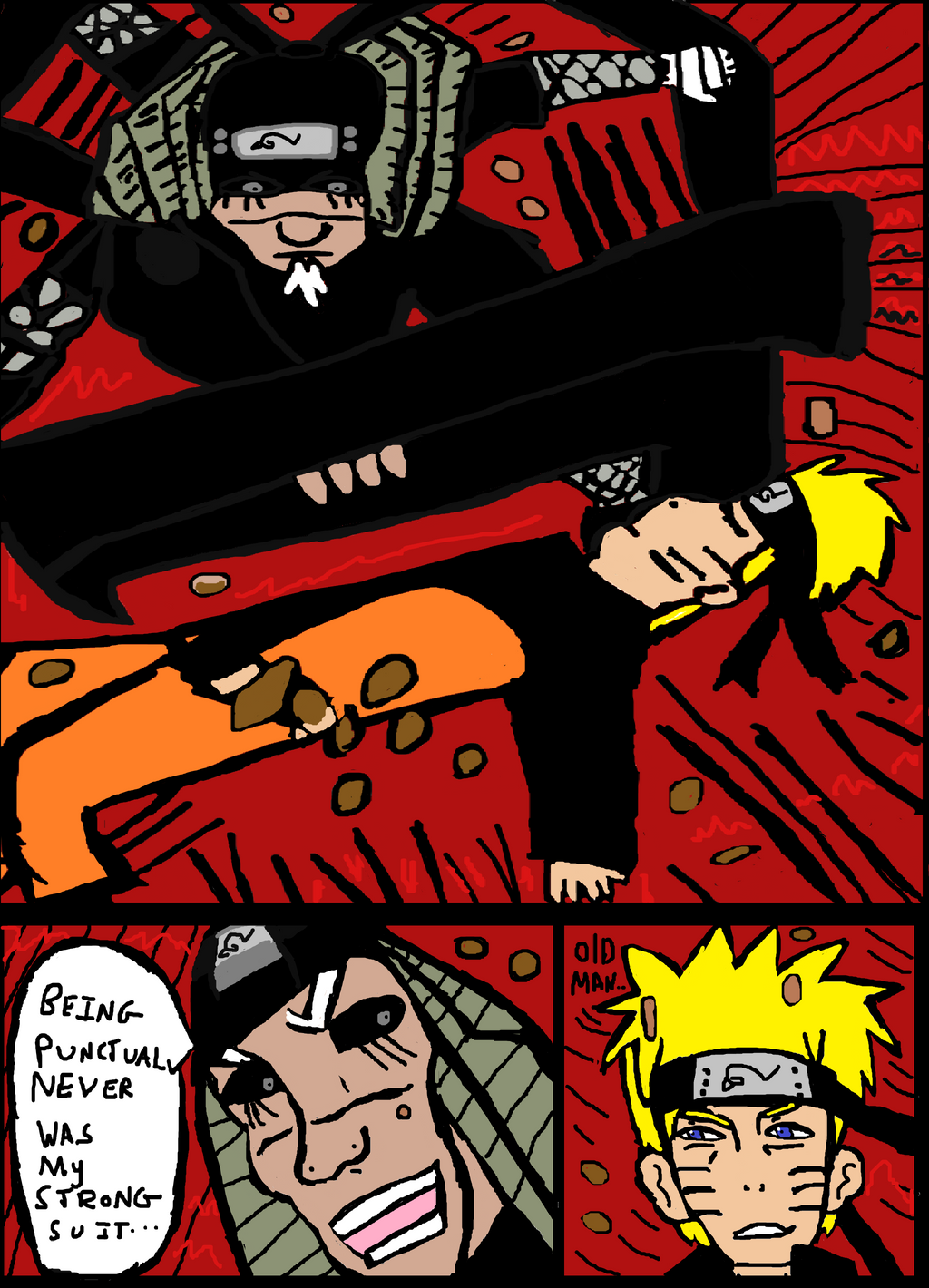 Naruto 646- Sarutobi Rescues Naruto from Ten tails by Fran48