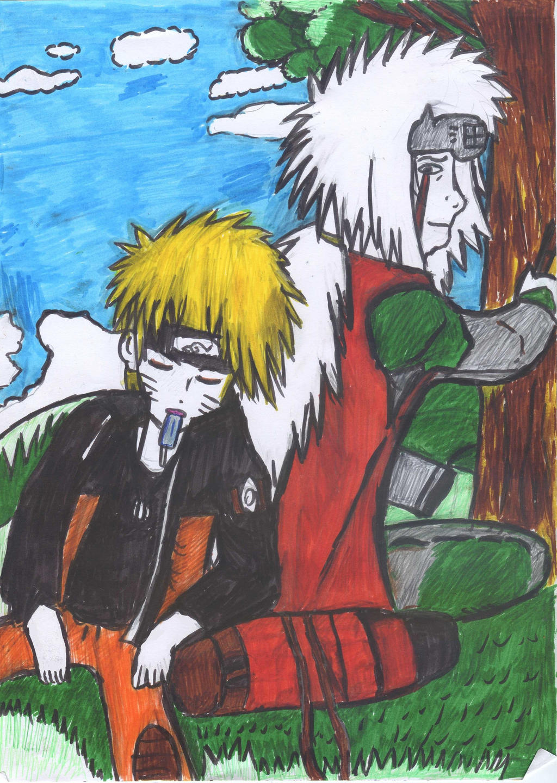 Naruto and Jirayia sitting under tree:) by Fran48