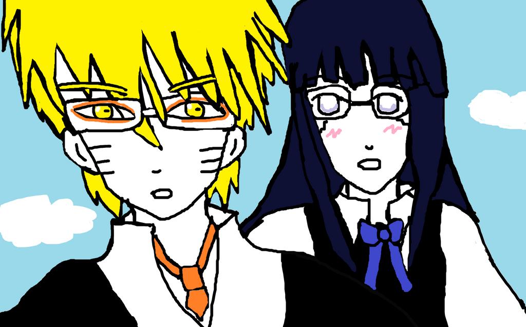 NaruHina School uniform and glasses by Fran48