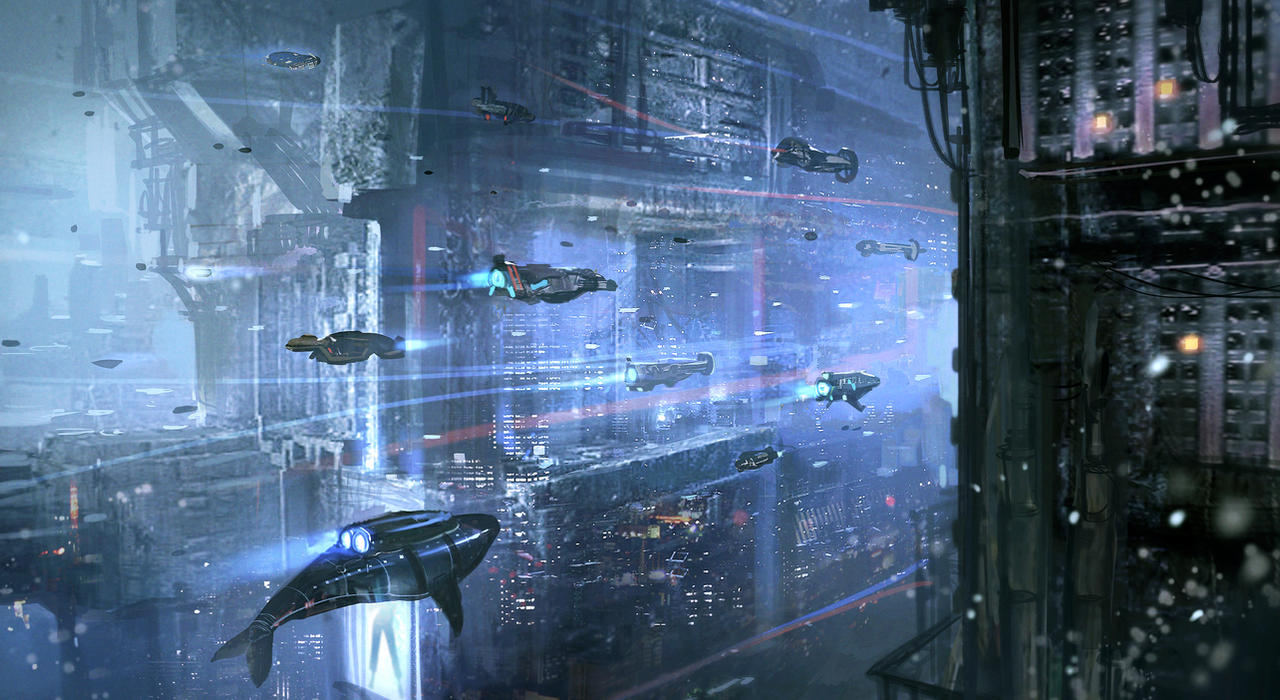 Underwater Cyberpunk City by nkabuto