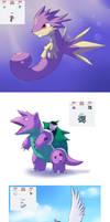 Pokemon fusions by Apricotil