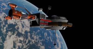 Thunderbird 3 Docked Onto 5 by PUFFINSTUDIOS