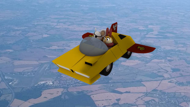 3D Danger Mouse And Danger Moth Driving