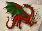 Red dragon with sword