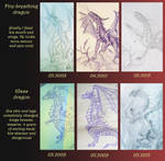 Progress in drawing: fire and glass dragons