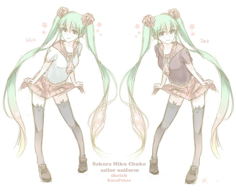 VOCALOID SKETCH : Sailor Fuku Sakura Miku (Chuko) by Kp-sama