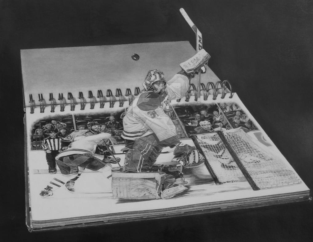 3d Goalie Pencil Drawing Hockey Sports Art By Robb Scott Drawings