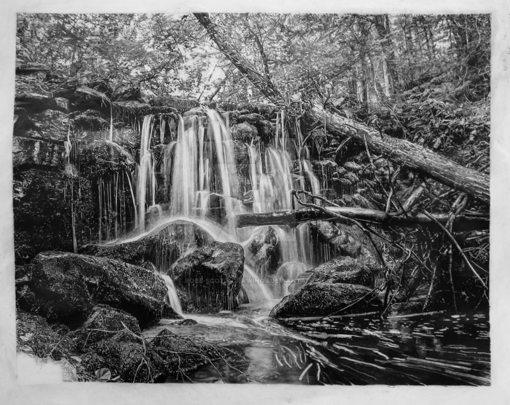 Pencil drawing of waterfalls by robb scott by robb scott drawings