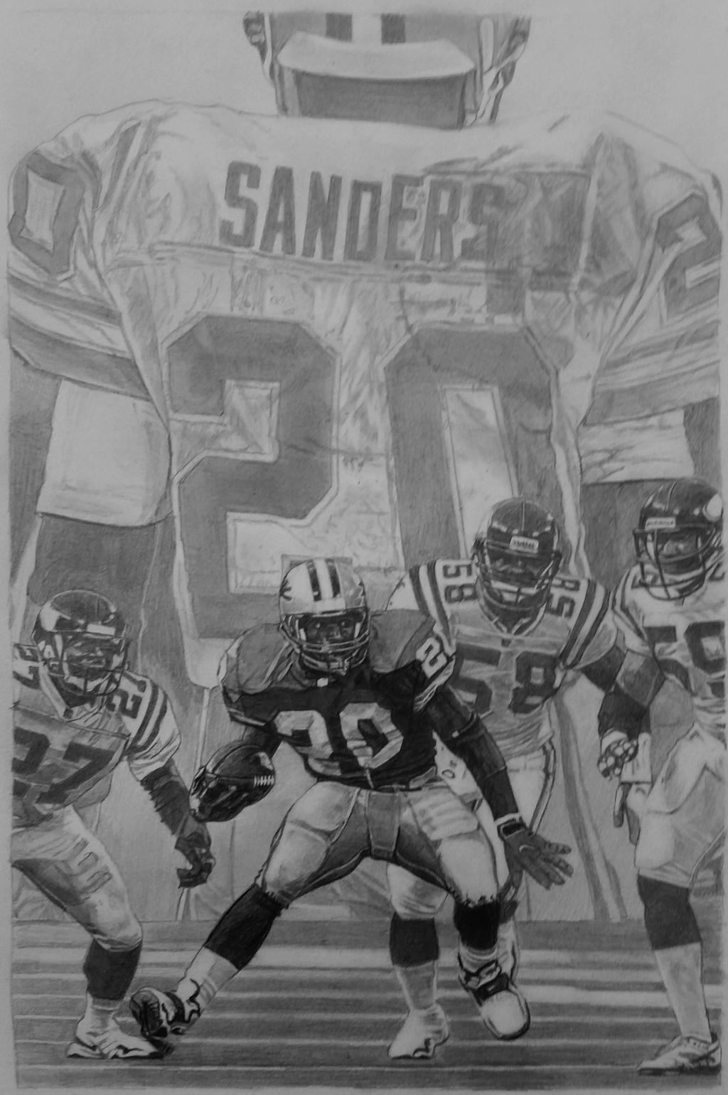 Barry Sanders Pencil Art Detroit Lions Football By Robb