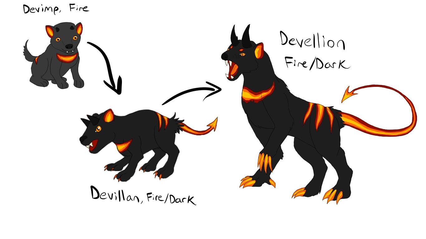 Fire Starter Fakemon--Devimp, Devillain, Devellion by GalanorBrighteye ... Y Dog Names