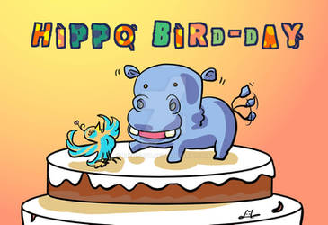 A hippo bird-day doodle for my friend