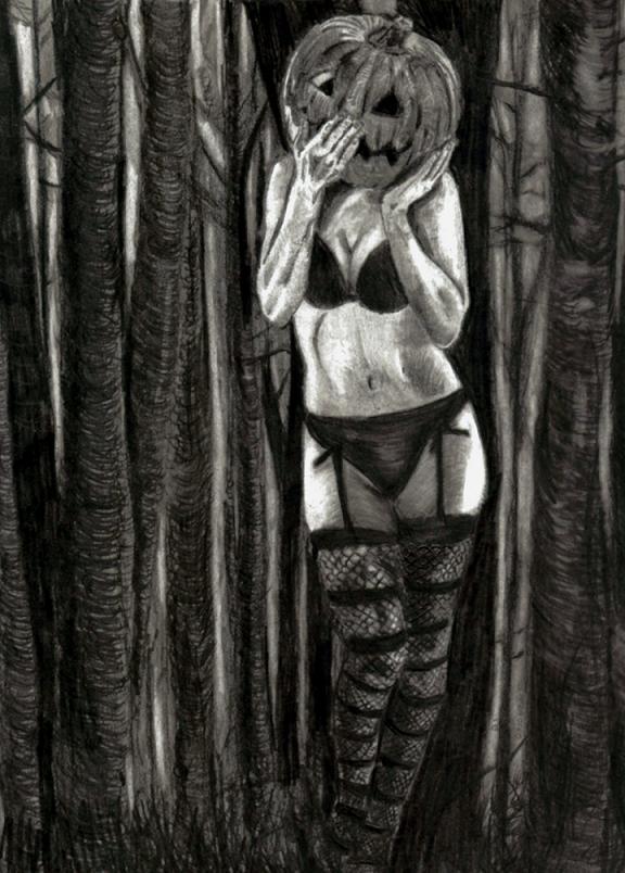 Pumpkin Head Drawing Horror Drawing Dump From
