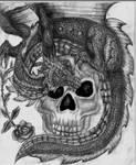 Dragon on skull