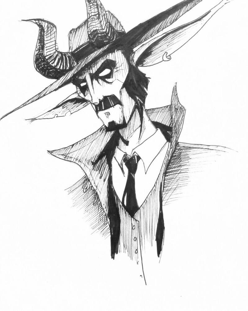 Inktober Day 8: Fantasy Western Villain by agentspymonkey