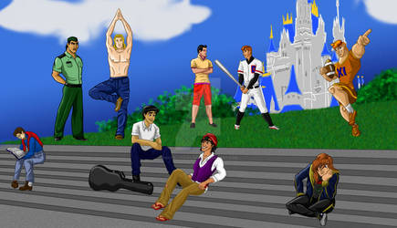 Disney High, the Princes by vertiklychalingd