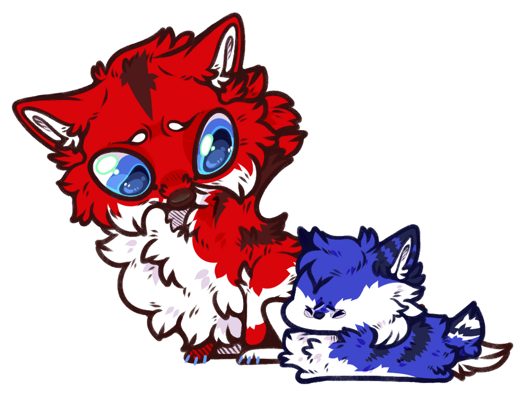 Wolfus and Chicle by ChibiChubster