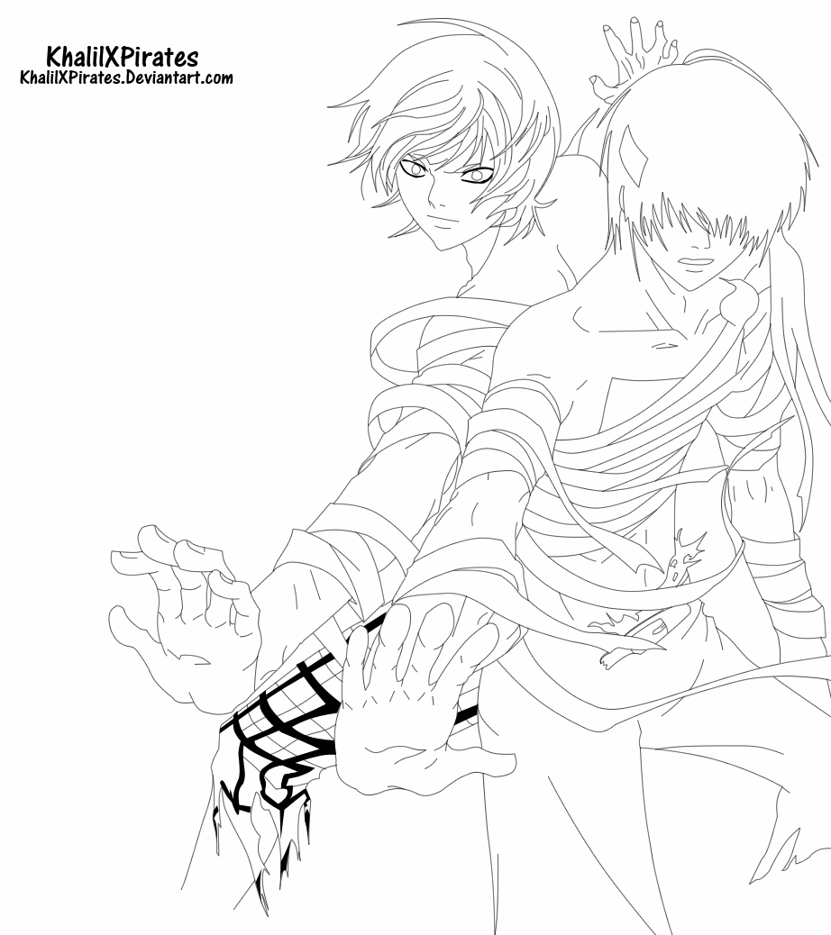 Code Breaker - Toki And Ogami Lineart by KhalilXPirates