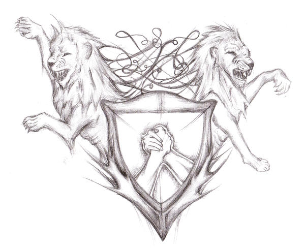 lions shield tattoo design by vitcka
