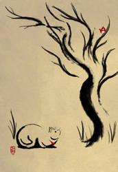 Crouching Kitty, Hidden Bird by TeknicolorTiger