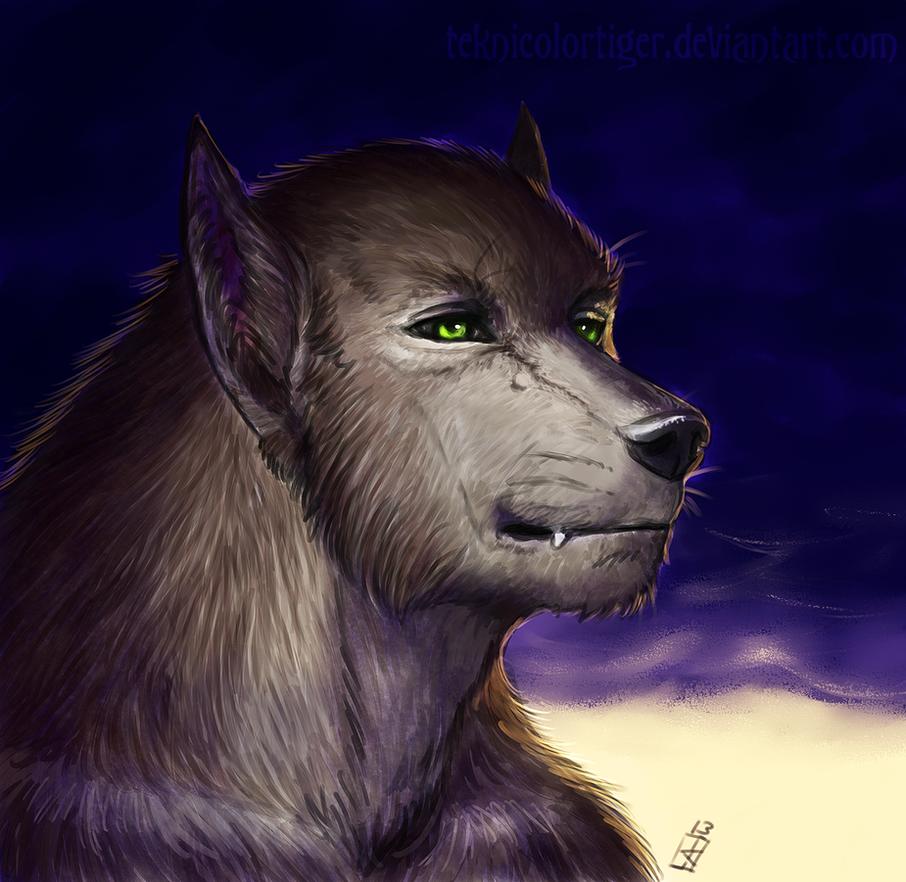 Werewolf Portrait: Furian by TeknicolorTiger