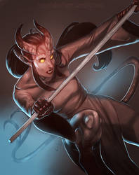 Shaded Sketch: Viree the Tiefling by TeknicolorTiger
