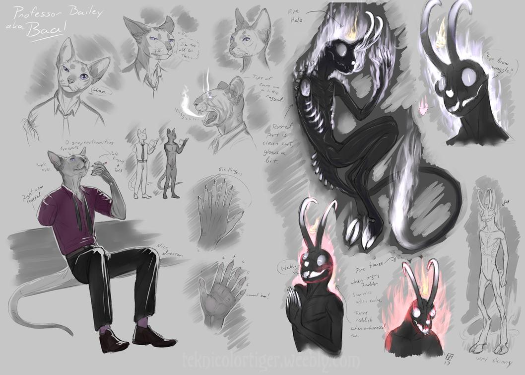 Character Sketch Sheet: Baal/Prof Bailey by TeknicolorTiger