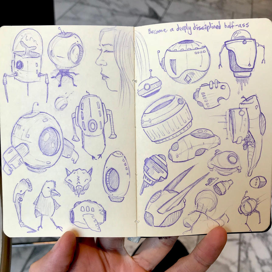 Final pages of commute sketchbook #07 by atomantic