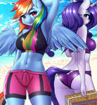 Rainbow Dash and Rarity Beach SFW