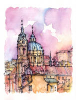 Prague watercolor illustration by Kot-Filemon
