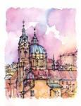 Prague watercolor illustration