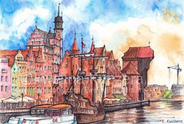Gdansk watercolor illustration by Kot-Filemon